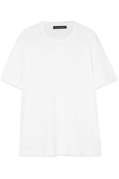 Acne Studios - Nash Face Appliquéd Cotton-jersey T-shirt - White