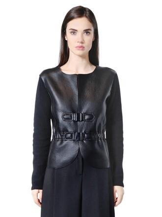 jacket knit leather wool black