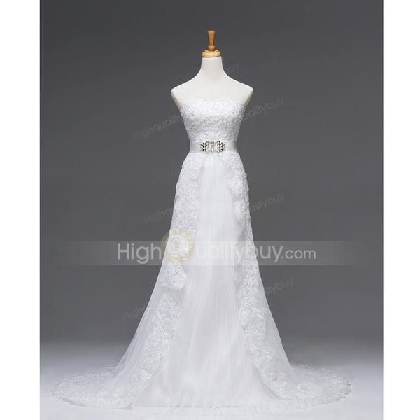 Attractive Strapless A-line Chapel Train Luxury Gauze Wedding Dress_$701.98