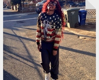Pull drapeau américain bleu blanc rouge