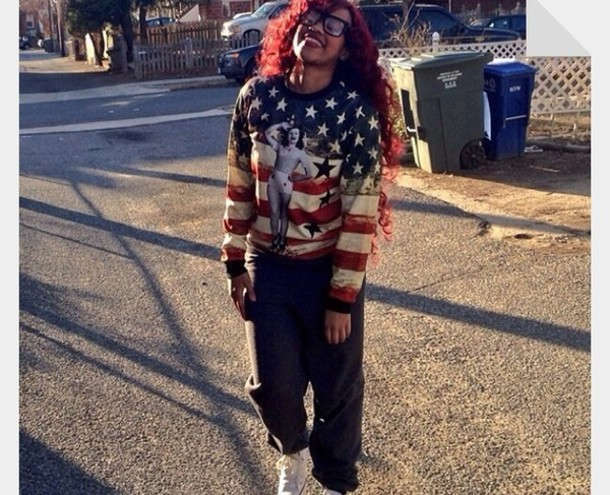 sweater american flag white blue red