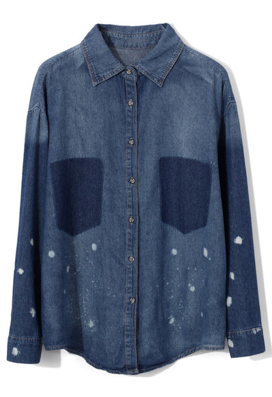 shirt oversize denim shadow pockets