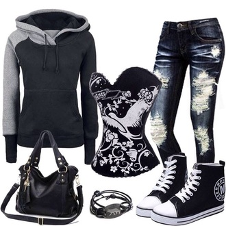 jacket pants purse sneakers bracelets shirt