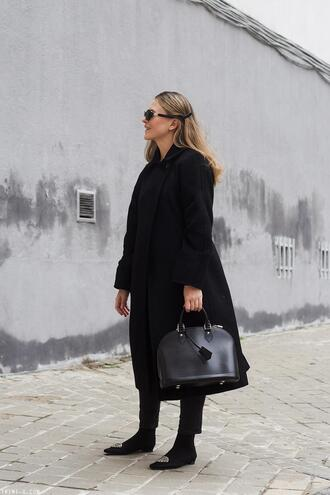trini blogger sunglasses coat sweater jeans socks bag jewels handbag black coat all black everything