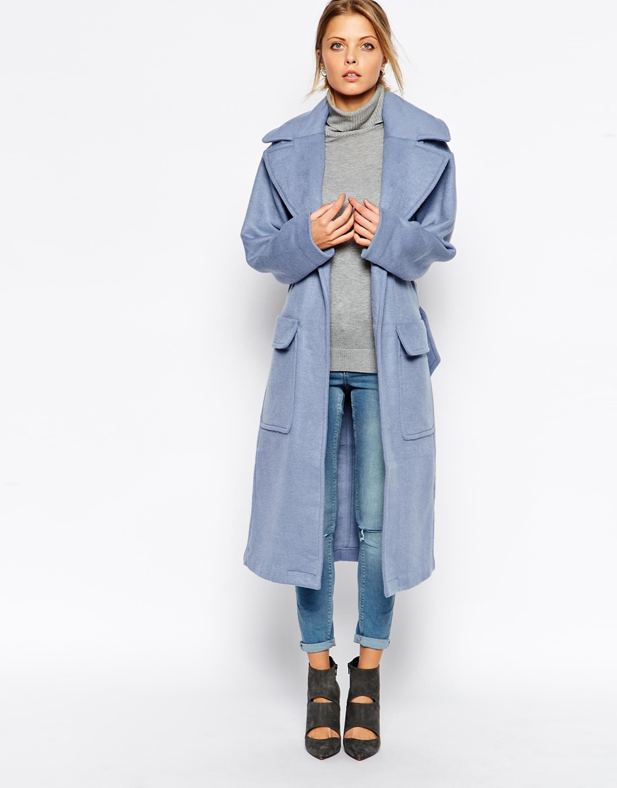 Asos coat in relaxed fit with belt at asos.com