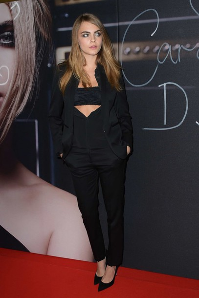 top blouse cara delevingne pants all black everything