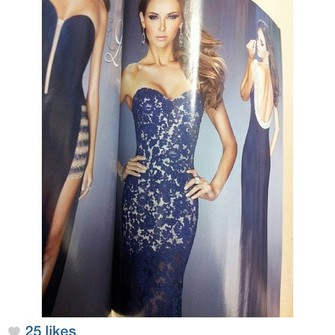 middle dress blue lace strapless fitted prom one in the the middle