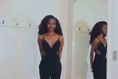 jumpsuit,black,cross over dress,cut-out,backless,camisole,black girls killin it,black jumpsuit,strapless black jumpsuit,dress