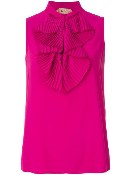 blouse sleeveless ruffle women silk purple pink top