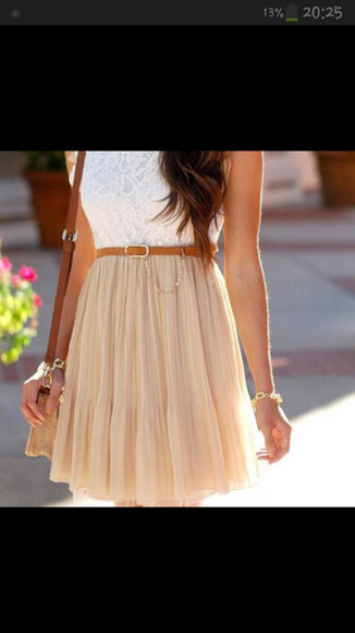 brown dress white dress leather belt