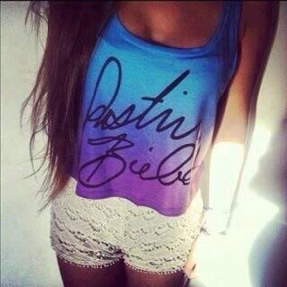 justin bieber tank top blue tank top crop tops white lace shorts purple crop top shorts