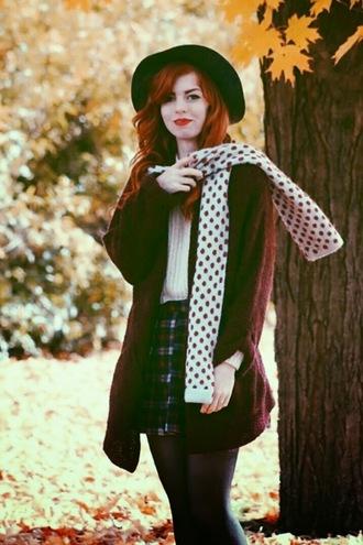 polka dots scarf jacket cardigan secret garden blogger felt hat tartan pleated skirt fall outfits