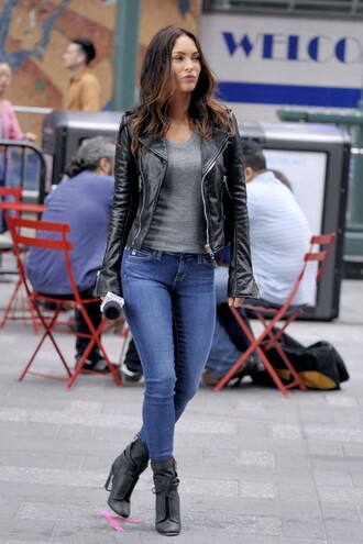 jacket top biker jacket megan fox boots jeans shoes