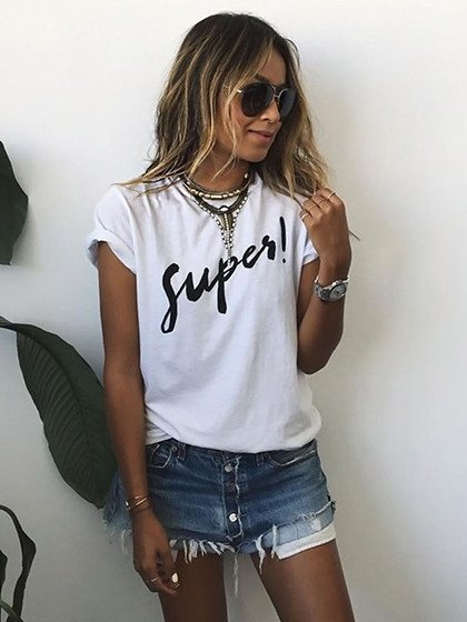 White Super Roll-up Sleeve T-shirt