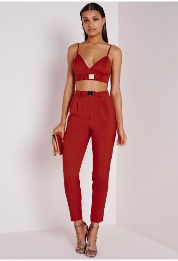Missguided - Gold Buckle Cigarette Pants Rust