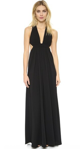 gown v neck black dress