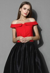 top,chicwish,red textured top,off the shoulder top
