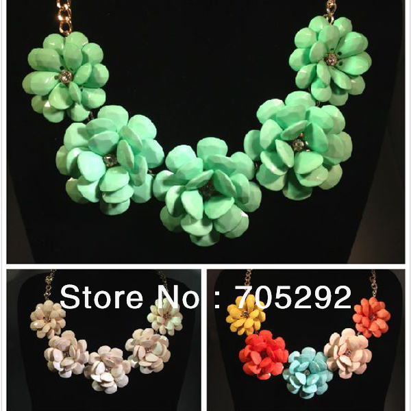 New Women Jewelry Bib Chunky Teardrop Flower Statement Fashion Necklace Free Shipping-in Pendant Necklaces from Jewelry on Aliexpress.com
