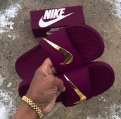 shoes,nike,burgundy,sandals,gold,summer,nike slides,slippers,blue,nike green with gold check  slidee,golden nike logo,sangria,some expensive shit,red purple,wine color,nike benassi,purple,kawa,slide shoes,swag,fashion
