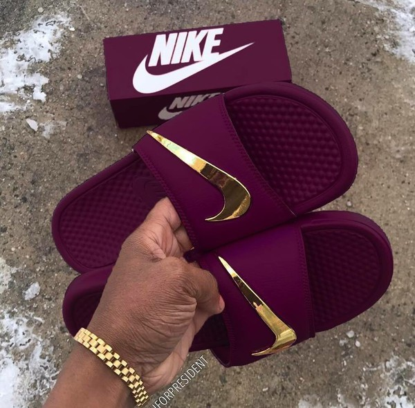shoes nike burgundy sandals gold summer nike slides slippers blue nike green with gold check  slidee golden nike logo sangria some expensive shit red purple wine color nike benassi purple kawa slide shoes burgundy swag fashion