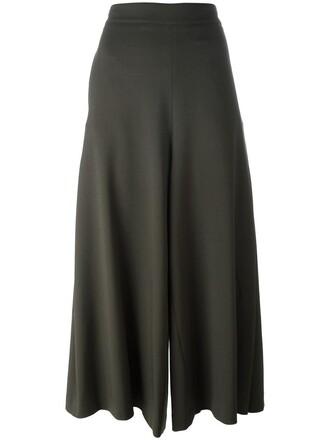 cropped women spandex wool green pants