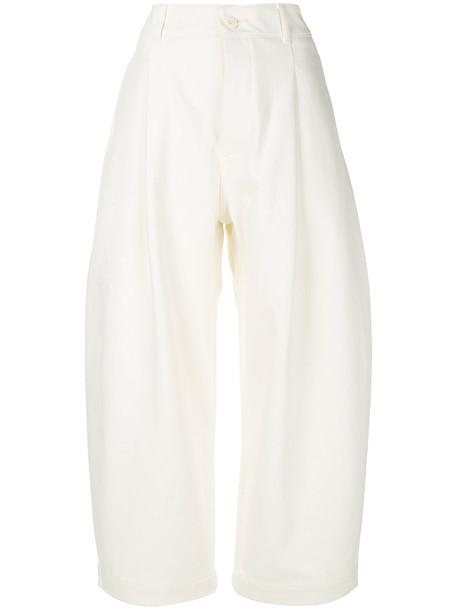 Studio Nicholson cropped women white cotton pants