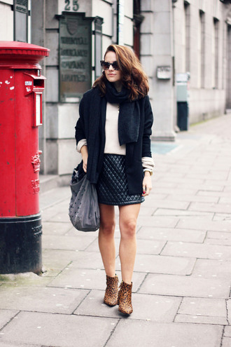 the little magpie blogger jacket scarf sunglasses jewels cat eye ankle boots leopard print quilted mini skirt