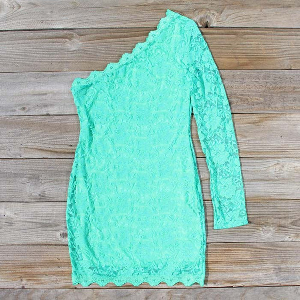dress mint one shoulder