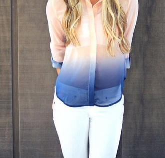 blouse ombre bloue rosa ombre shirt
