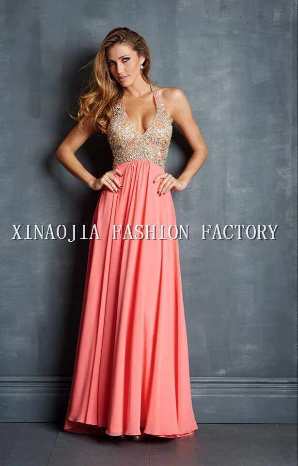Aliexpress.com : Buy Free Shipping Real Photo New Arrival 2014 Chiffon Fabirc Halter Rhinestone Beaded Floor Length Pink Prom Dresses from Reliable dresses europe suppliers on Chaozhou City Xin Aojia dress Factory