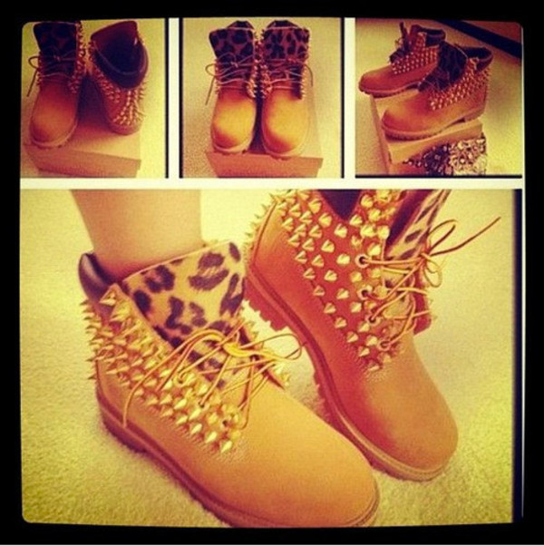 shoes leopard print leopard timberlands custom timberlands spiked shoes leopard print boots with spikes and cheetah print light brown high boots with laces jordans jeans timberland boots shoes leopard print
