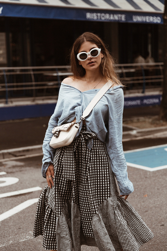 the fashion fraction blogger shirt skirt shoes bag sunglasses jewels crossbody bag blue shirt midi skirt fall outfits