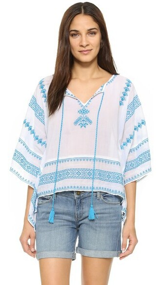 top embroidered white turquoise
