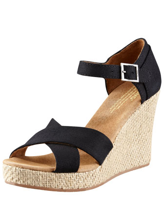 TOMS Canvas Wedge Sandal - Neiman Marcus