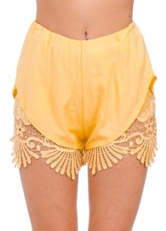 shorts lace crochet lace shorts crochet shorts black yellow boho