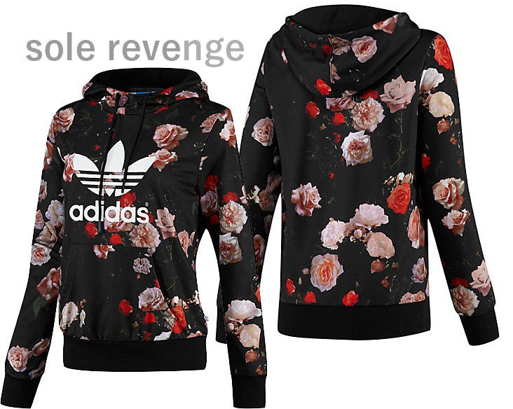 714d5345a2e9f New XS Adidas Originals Womens Trefoil Logo Hooded Sweatshirt Roses Flower  Print | eBay