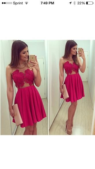 dress red dress lace dress sheer dress backless dress mini dress