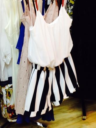 romper black & white white black white shirt striped shorts