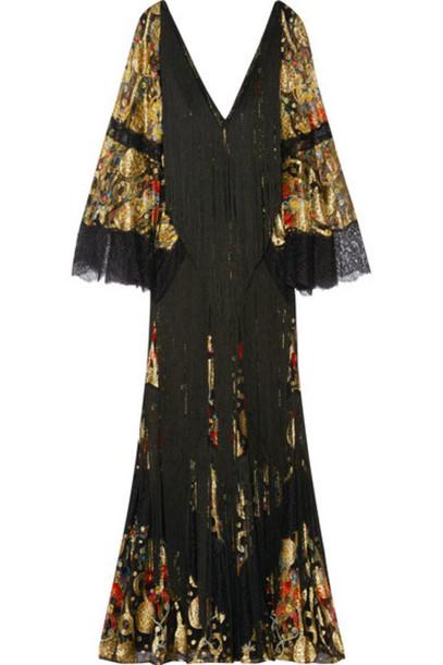Roberto Cavalli - Fringed Lace-paneled Metallic Fil Coupé Gown - Black