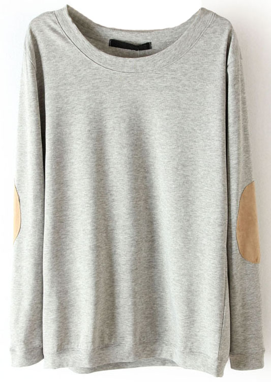 Grey Long Sleeve Elbow Patch Pullover Sweater - Sheinside.com