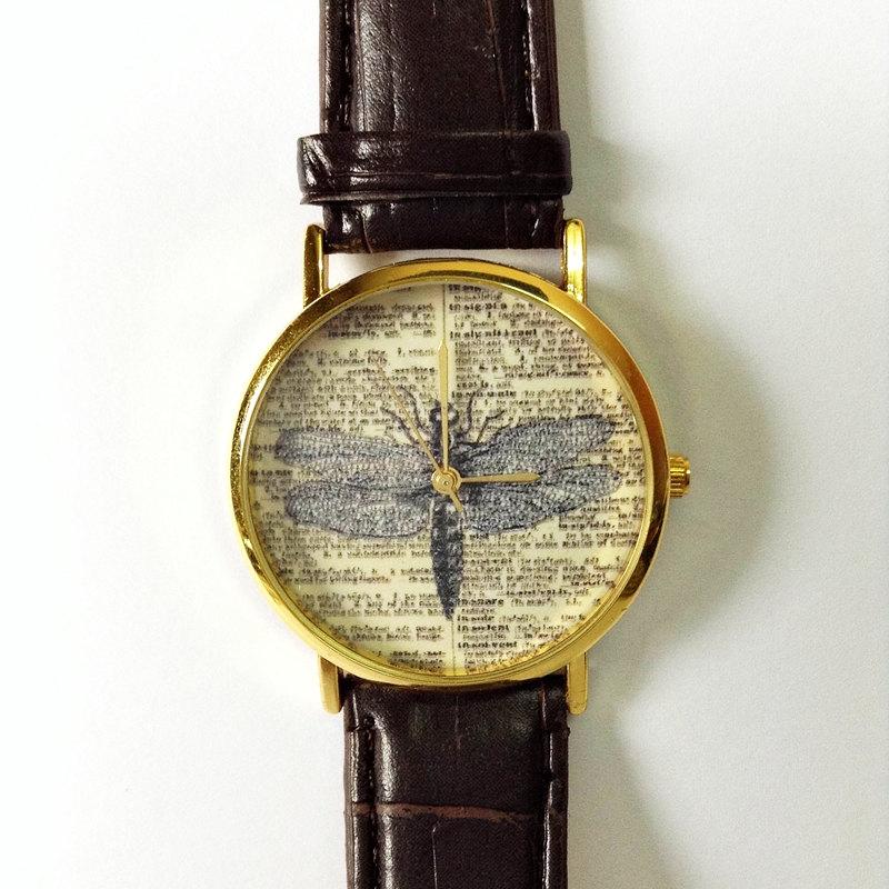 Vintage Dragonfly Watch, Vintage Style Leather Watch, Dictionary Print, Women Watches, Mens Watch, Boyfriend Watch, Unisex, Brown