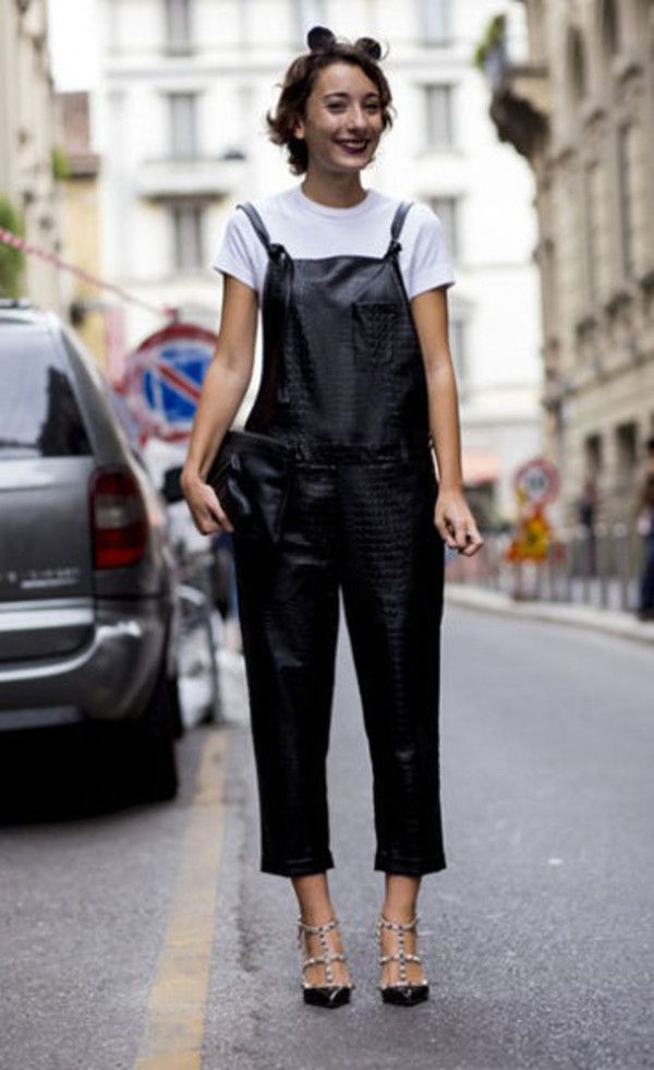 pants white t-shirt studded heels blogger leather overalls
