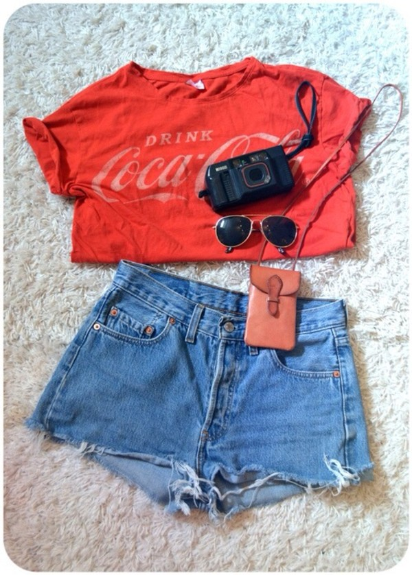 shirt coca cola red t-shirt shorts