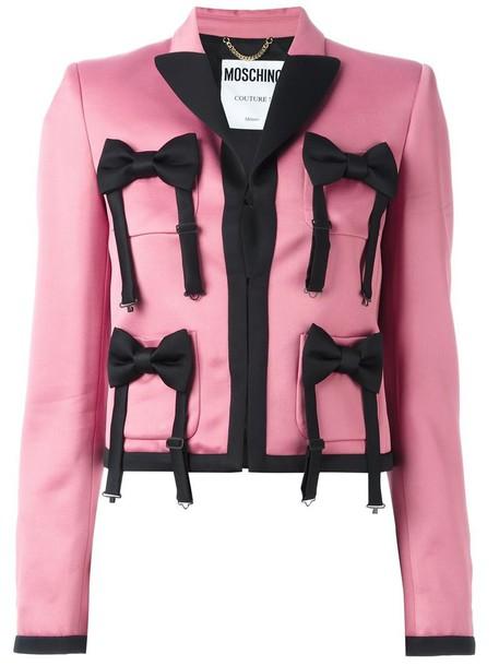 jacket embellished jacket bow women embellished wool purple pink