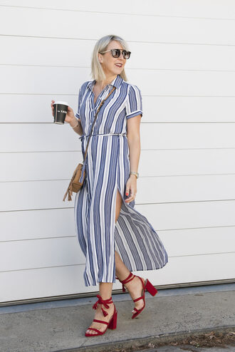 leatherandlattes blogger dress shoes bag sunglasses midi dress striped dress crossbody bag red heels high heel sandals