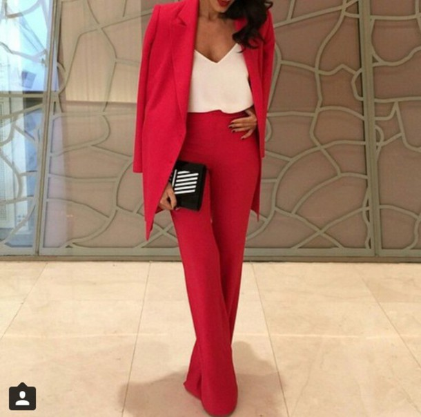 Pants Red Red Outfit Red Pants Coat Jumpsuit Suit Classy