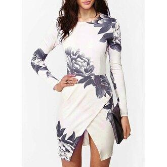 dress cute floral dress black and white dress short short dress long sleeve dress sexy dress