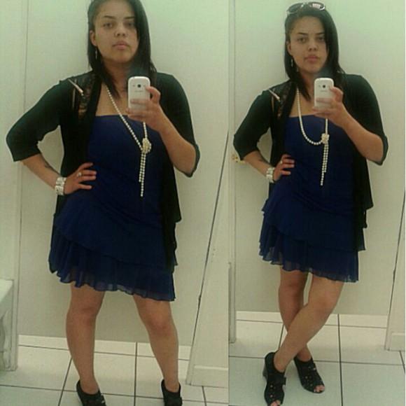cardigan clothes royal blue dress pearls wedge heels