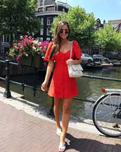 dress,red dress,little red dress,shoes,bag