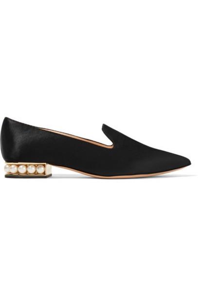 Nicholas Kirkwood embellished loafers black satin shoes